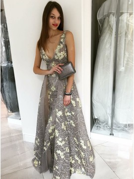 A-Line V-Neck Floor-Length Detachable Grey Lace Prom Dress with Appliques