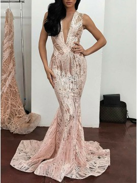 Mermaid Deep V-Neck Floor-Length Pink Lace Prom Dress