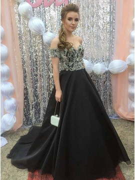 A-Line Sweetheart Short Sleeves Black Prom Dress with Appliques
