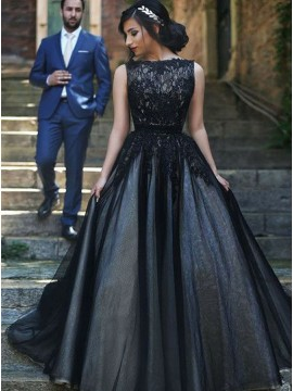 Elegant Bateau Sleeveless Black Evening Dress with Appliques Long Prom Dress