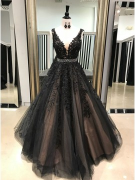 A-Line V-Neck Floor-Length Black Prom Dress with Appliques