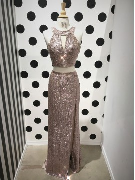 Two Piece Round Neck Long Champagne Sequined Prom Dress