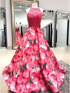 A-Line Halter Backless Long Floral Prom Dress with Beading