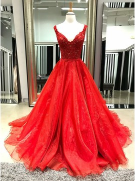 A-Line Deep V-Neck Long Red Organza Prom Dress with Appliques