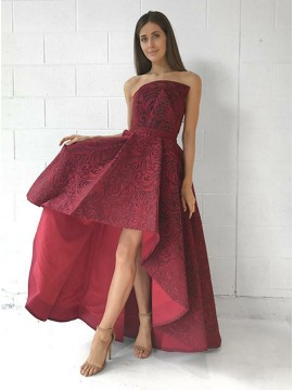 A-Line Strapless High Low Burgundy Printed Satin Prom Dress
