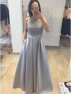 A-Line Round Neck Open Back Grey Satin Prom Dress with Pockets