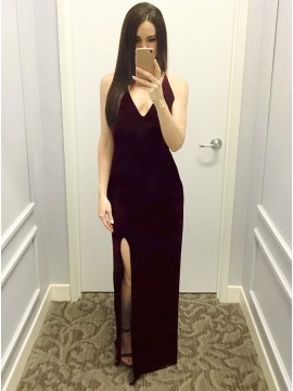 Mermaid V-Neck Backless Long Wine Velvet Prom Dress with Split