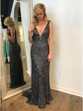 Mermaid V-Neck Backless Long Dark Grey Sequined Prom Dress