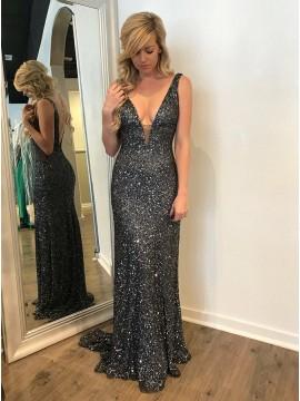 Mermaid V-Neck Backless Long Dark Grey Sequined Prom Dress
