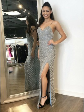 Sheath Spaghetti Straps Backless Silver Prom Dress with Beading