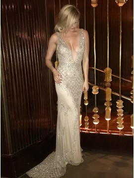 Mermaid Deep V-Neck Backless Champagne Prom Dress with Beading