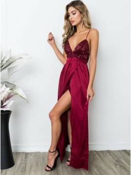 A-Line Spaghetti Straps Floor-Length Burgundy Prom Dress with Sequins
