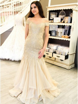 Mermaid Off-the-Shoulder Long Light Champagne Prom Dress with Sequins