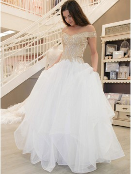 A-Line Off-the-Shoulder Long White Prom Dress with Appliques