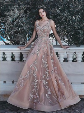 V-Neck Long Pearl Pink Prom Dress with Appliques Beading Evening Dress