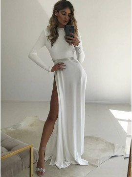 Sheath Round Neck Floor-Length White Prom Dress with Long Sleeves