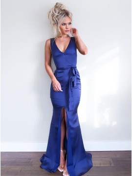 Mermaid V-Neck Sleeveless Royal Blue Long Prom Dress with Split