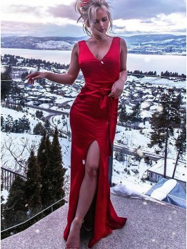Sheath V-Neck Sleeveless Red Satin Evening Prom Dress with Split