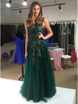 A-Line Round Neck Dark Green Prom Dress with Appliques Sequin Evening Dress