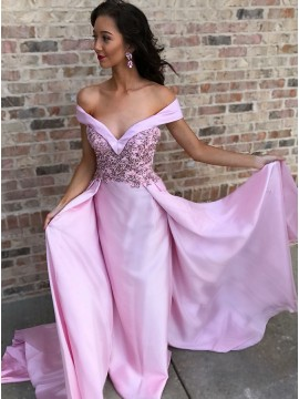 Mermaid Off-the-Shoulder Sweep Train Pink Prom Dress with Sequins