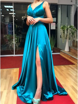 A-Line Spaghetti Straps Long Turquoise Prom Dress with Split