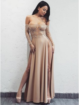 A-Line Off-the-Shoulder Long Sleeves Champagne Prom Dress