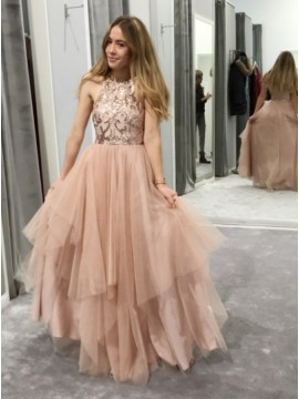 A-Line Round Neck Floor-Length Peach Prom Dress with Appliques