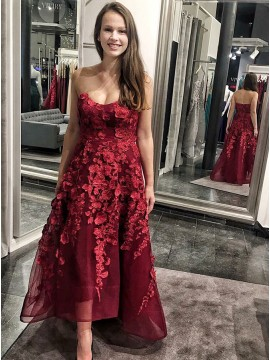 A-Line Sweetheart High Low Burgundy Prom Dress with Appliques