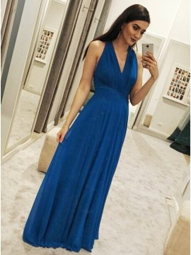 A-Line V-Neck Floor-Length Royal Blue Chiffon Prom Dress