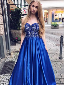 A-Line Sweetheart Floor-Length Royal Blue Satin Prom Dress with Pockets