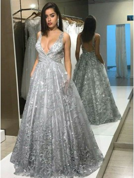 A-Line Deep V-Neck Backless Silver Lace Prom Dress with Pockets