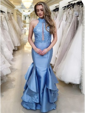 Mermaid High Neck Long Blue Prom Dress with Appliques Ruffles
