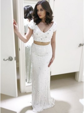 Two Piece V-Neck Cap Sleeves White Lace Prom Dress with Beading
