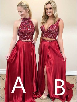 Two Piece High Neck Sweep Train Red Prom Dress with Beading