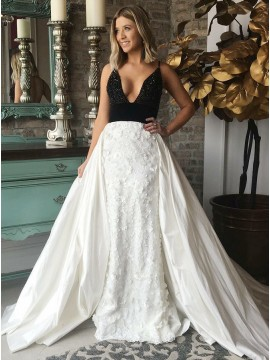 Sheath Spaghetti Straps White Lace Long Prom Dress with Appliques