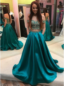 Two Piece Off-the-Shoulder Long Turquoise Prom Dress with Pockets