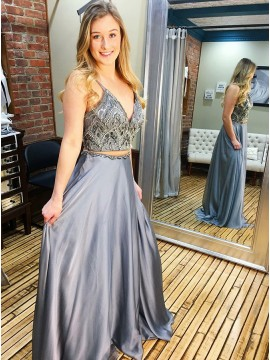 Two Piece Spaghetti Straps Long Grey Prom Dress with Beading
