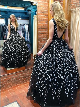 A-Line Deep V-Neck Backless Floor-Length Black Prom Dress