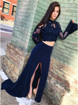 Two Piece Round Neck Flare Sleeves Navy Blue Prom Dress with Appliques