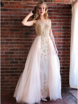 Sheath V-Neck Long Pearl Pink Prom Evening Dress with Beading