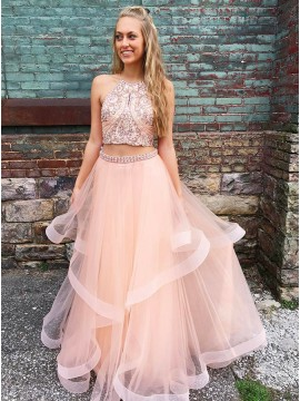 Two Piece Round Neck Long Pink Prom Dress with Beading