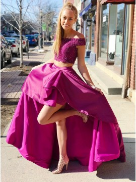 Two Piece Off-the-Shoulder Long Fuchsia Prom Dress with Beading