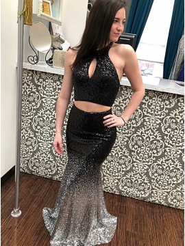 fe51944e881 Two Piece Halter Long Ombre Sequin Prom Dress with Keyhole