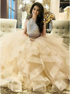 Ball Gown Round Neck Long Light Champagne Prom Dress with Beading