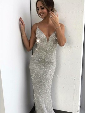 Mermaid Spaghetti Straps Long Silver Sequin Prom Evening Dress