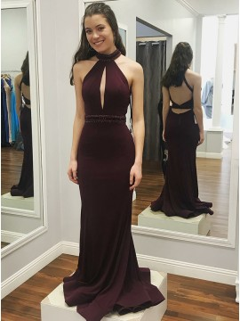 Mermaid High Neck Open Back Grape Prom Dress with Beading Keyhole