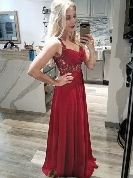 A-Line Straps Floor-Length Dark Red Prom Dress with Lace Beading