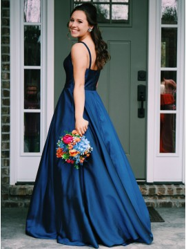 A-Line Bateau Sleeveless Floor-Length Blue Chiffon Prom Dress