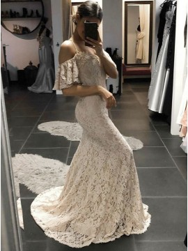 Mermaid Spaghetti Straps Cold Shoulder Pearl Pink Lace Formal Dress