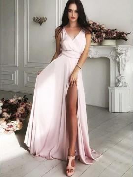 A-Line V-Neck Floor-Length Pearl Pink Satin Prom Dress with Split